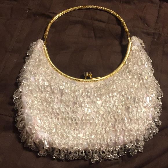 Vintage Handbags - Vintage Hong Kong bead/sequin gold handle purse